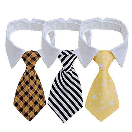 afafqfe Dog Ties, 3 Packs Pet Dog Neckties Adjustable Collar Stripe Bowtie for Small & Medium Dogs Puppy Grooming Accessories