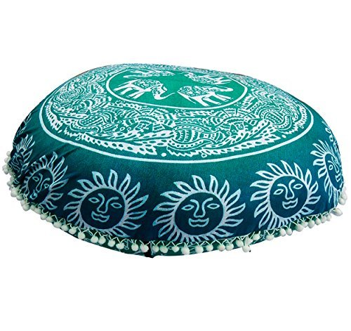 Round Floor Pillow Comfortable Mandala Floor PillowsBohemian Cushion Cover Ottoman Pouf Cover by Gokul Handloom