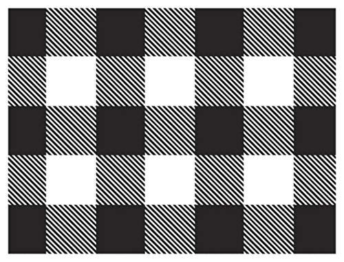Black White Buffalo Check Plaid Gift Wrapping Wrap Paper - 15 Foot Roll