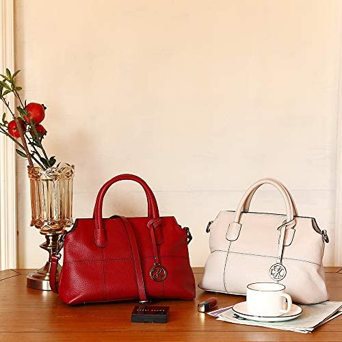 Kattee Genuine Leather Handbags for Women, Soft Hobo Satchel Shoulder Crossbody Bags Ladies Purses