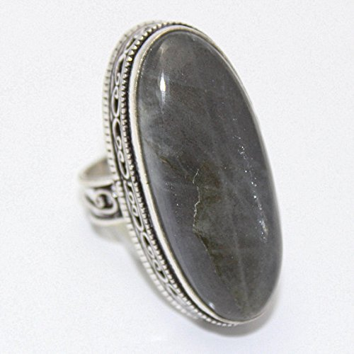 Overlay Silver Vintage (Natural Labradorite Ring Silver Overlay Fashion Jewellery Handmade Jewelry Vintage Antique Designer Statement Prom 7.50 US Size Gift Sale.)