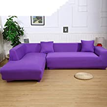 Universal Sofa Covers for L Shape, 2pcs Polyester Fabric Stretch Slipcovers + 2pcs Pillow Covers for Sectional sofa L-shape Couch - Solid Color Purple