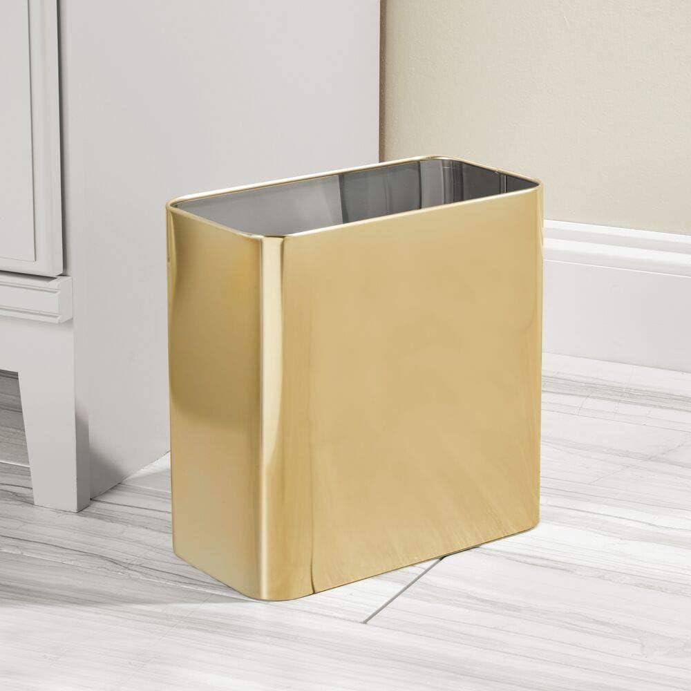 Cocina u Oficina con Espacio Suficiente para residuos Cubo de Basura de Metal Papelera met/álica compacta para ba/ño mDesign Papelera de Oficina Rectangular Amarillo Claro