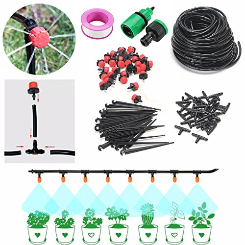 DIY Micro Irrigation Drip System, Pathonor 82ft Hose, 30 Dripper & Fixed stem, 29 Tee Joints, 2 Faucet