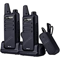 2-Pcs NKTECH NK-U1 Mini Ultra-thin UHF 400-470MHz 5W 16 Channels Ham Transceiver Two way Radio Walkie Talkie With 3.7V 1500mAh Li-ion Batteries Accessories and Charging Dock Black