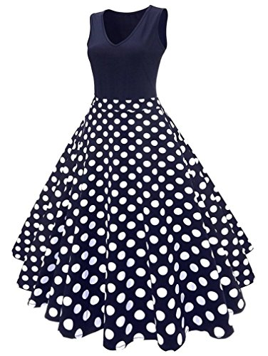Vanbuy Women's V Neck Sleeveless Polka Dot Print Vintage Rockabilly Swing Party Plus Size Dress Z167-Polka Dot-4XL