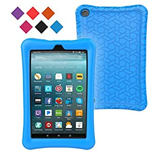 BLUEWIND Silicone Case for All-New Fire 7, Anti Slip Light Weight Shockproof Soft Silicone Protective Case Cover for Fire 7 (7th Generation, 2017 Release) Tablet Blue (Blue)