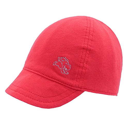 (Keepersheep Baby Reversible Baseball Cap Infant Sun Hat, Shell Embroidery Cotton (0-3 Months, Red))
