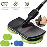 KIKTS Cordless Electric Spinning Mop,Rechargeable Powered Laminate Floor Polisher,3 in 1 Cordless Spin Floor Cleaner for All Surfaces,with 4 Microfiber Pads and 2 Polisher Pads for Indoor Use