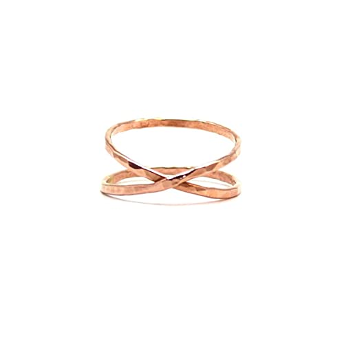 Amazon Rose Gold Infinity Ring Hammered Criss Cross Ring