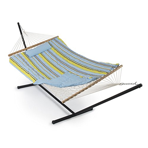 Belleze 12 ft Rope Hammock Combo with Stand, Pad and Pillow, iPad and Cup Holder (Blue and Green Stripe)