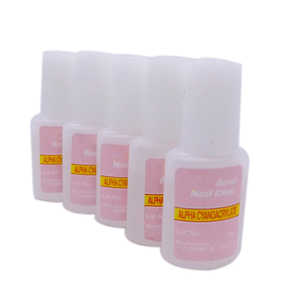 5 x 10g Pink Nail Fast Drying Beauty False Art Decorate Tips Acrylic Glue Warm Girl