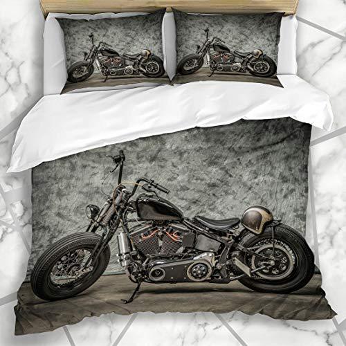 Ahawoso Duvet Cover Sets Queen/Full 90x90 Davidson Motorcycle Cool Harley Vintage Softail Bike Chopper Classic Biker Design Bobber Microfiber Bedding with 2 Pillow Shams