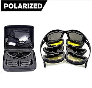 Mangocore New Polarized Army Goggles, Military Sunglasses 4 Lens Kit, Men's War Game Tactical Glasses Outdoor Sports Set of 9