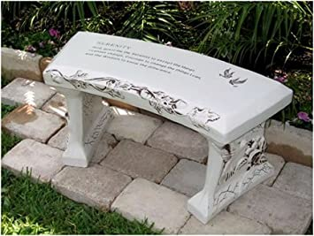 Lovely Hand Crafted U0027Serenity Prayeru0027 Cast Stone Garden Bench By Southwest Graphix    Personalization Available