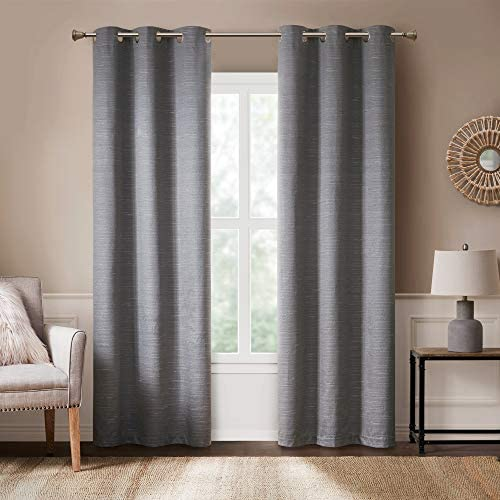 Hyde Lane Modern Farmhouse Curtains For Living Room Rustic Dining Room Decor Grasscloth Faux Linen Room Darkening Grommet Top Window Treatment 2 Pieces 40x84 Grey Amfba40 0184 Buy Online