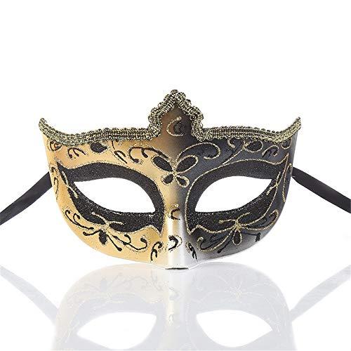 アーティスト政治雪ダンスマスク クリエイティブクラシックハーフマスクマスカレードパーティーデコレーションコスプレプラスチックマスク ホリデーパーティー用品 (色 : ブラック, サイズ : 17x11cm)