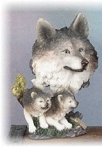 Wolf Head Bust Figurine-Wolf with two Cubs