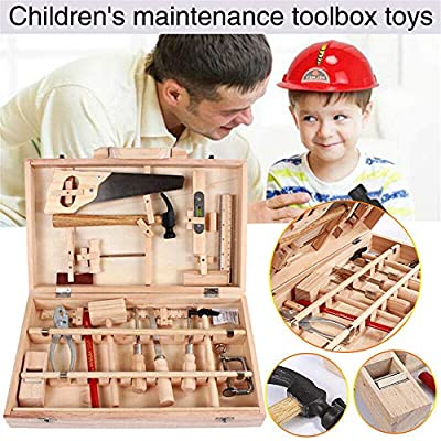 Kids DIY Woodwork Toolbox Junior Carpentry Tools Set Child Wooden Toy Set Gift: Toys & Games