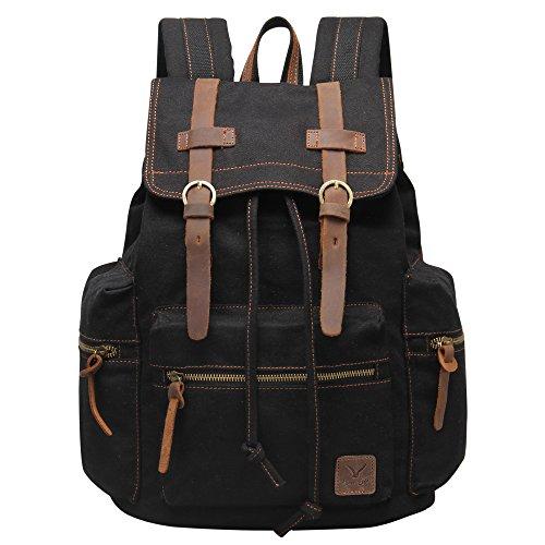 Hynes Eagle Vintage Canvas Backpack Travel Rucksack 19L Black