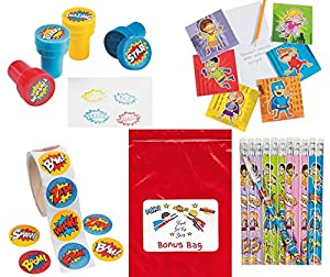 Superhero 148 pc Party Favors Bundle Kit Pack Enough for 12 Kid's Boy's or Girl's Stickers, Stamps, Notepads, Pencils, Toy Assortment