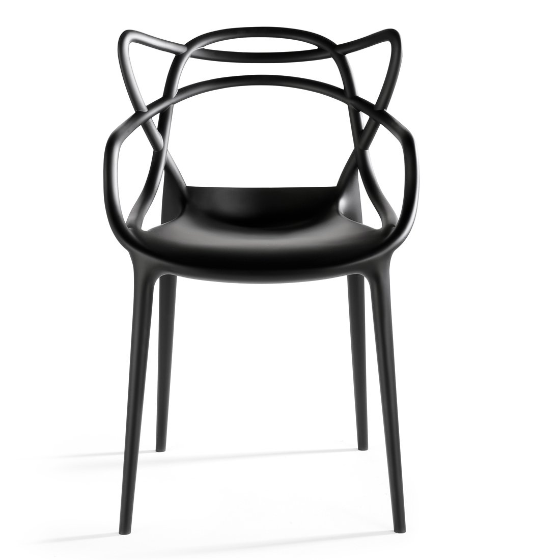 2xhome – Single 1 Chair Total Black Dining Room Chair – Modern Contemporary Designer Designed Popular Home Office Work Indoor Outdoor Armchair Living Room Kitchen Bed Bedroom Patio Arm Chair