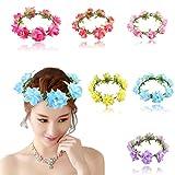 6 Pcs of Rose Hair Flower Wreath Design Crown Festival Wedding Headbands