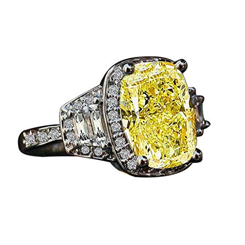 4 CT. Cushion Radiant Center Halo Setting Sterling Silver Ring W/Side Tapered Baguette (Canary, 7)