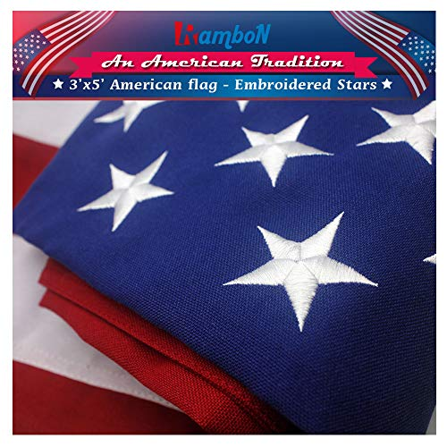 RamboN American Flag 3x5 ft.Durable Longest Lasting HEAVYWEIGHT 2-Ply 420D Durable Spun Polyester Outdoor US USA Flags - UV Protected, Embroidered Stars, Sewn Stripes.