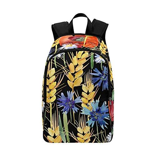 InterestPrint Field Rye Wheat Background, Ear, Poppy, Cornflower, Chamomile Leisure Backpack for School Backpack