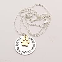 """Loss Of A Pet """"you Left Pawprints On My Heart"""" Paw Print Necklace"""