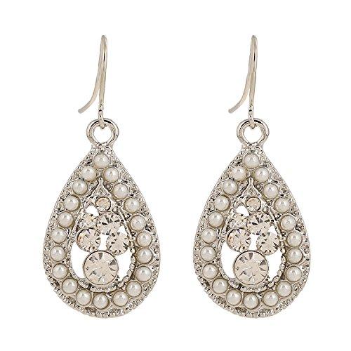 D EXCEED Teardrop Crystal Dangle Earrings Silver Tone Ivory Pearl Jewelry for Women Faux Pearl Dangle Pierced Earrings