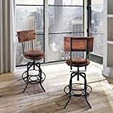 Bar Stools with Arms Armen Living LCDASTSBBR Damian Adjustable Barstool in Brown Fabric and Brushed Stainless Steel Finish