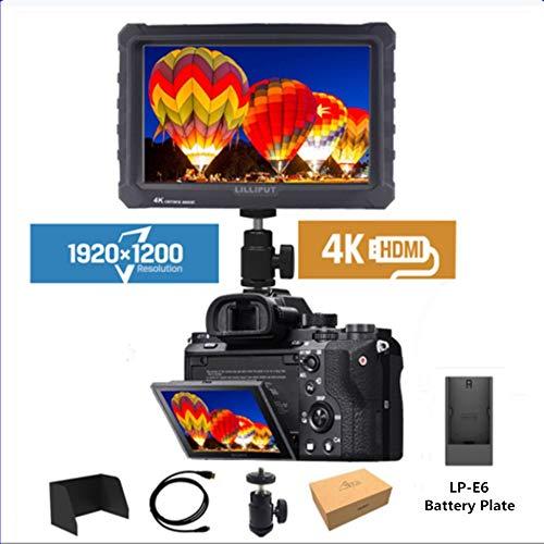 Lilliput A7S 黒いゴムケースIPで7インチカメラのための1920 k 1200万HDMIビデオフィールドモニタLP-E6バッテリープレート   B07MT5Q7SP
