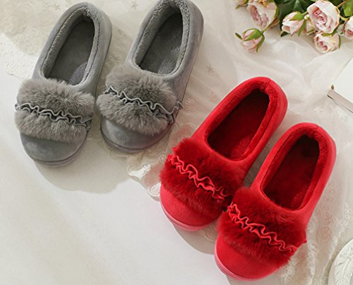 Cattior Womens Flower Warm Slippers House Shoes Indoor Outdoor Slippers Red kAd4YJY9H