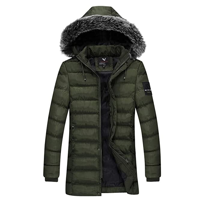 Amazon.com: AKIMPE Mens Winter Hoodie Fur Collar Thickened ...