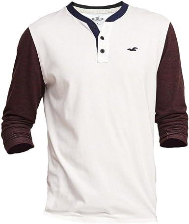 Hollister hombre con textura Jersey Henley camiseta de manga corta Blanco blanco Large: Amazon.es: Ropa y accesorios