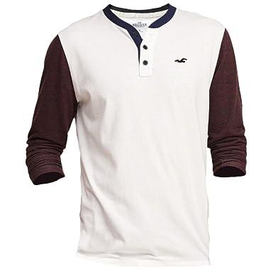 Hollister hombre con textura Jersey Henley camiseta de manga corta ...