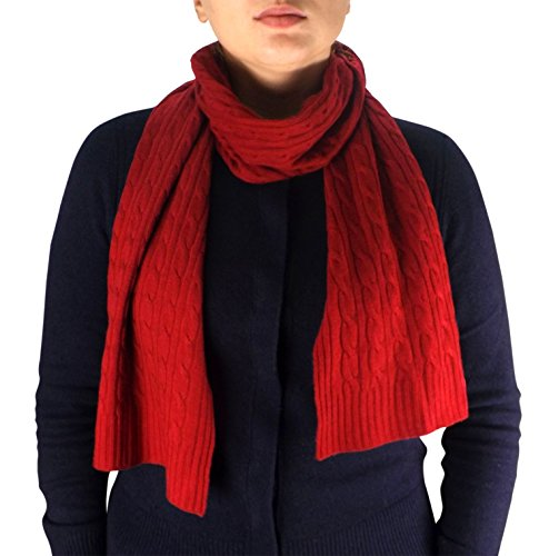 Peach Couture Wool Cashmere Lightweight Cable Knit Exclusive All Season Long Scarf Maroon (Cashmere Cable Knit Scarf)