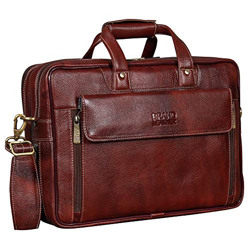 BRAND LEATHER 15.6 inch Expandable Laptop Messenger Bag