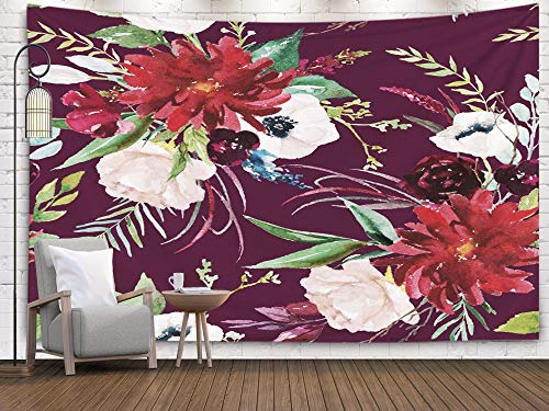 ROOLAYS Home Art Decor Wall Hanging Tapestry Watercolor Pattern Floral Pink Blush Flowers Bouquets Maroon Background Wedding Stationary with 80x60 Inches for Living Room Dorm Background Tapestries -