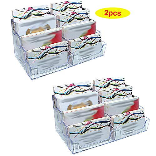 Sunmall 2pcs 8 Pockets Acrylic Business Card Holder Desktop Clear Business Card Stand Countertop Acrylic Index Card Organizer for Desk Tidy,Fits 400 Business Cards Capacity
