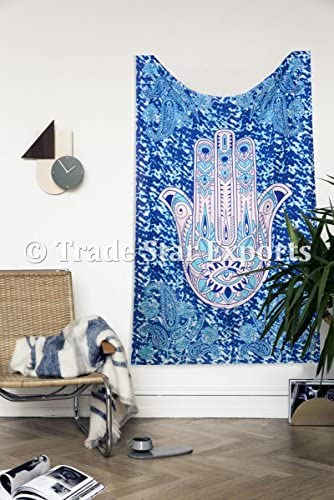 Trade Star Hamsa Hand Tapestry Wall Hanging Blue Color 100 Cotton Fabric Home Decor Twin Bohemian Bedspread