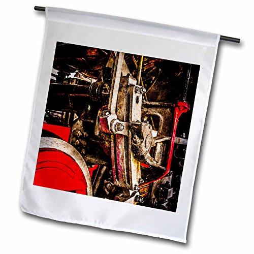 raphy - Transport Railroad - Driving gear of a steam locomotive. Stylized photo - 12 x 18 inch Garden Flag (fl_270617_1) ()