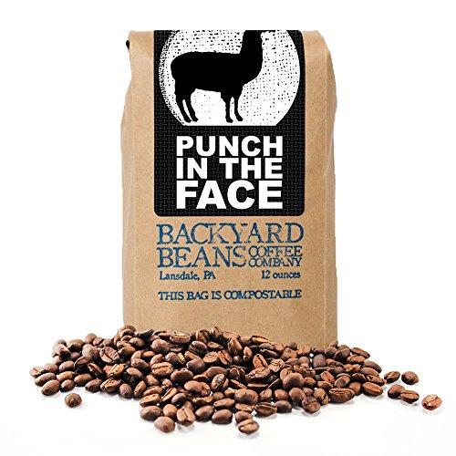 Backyard Beans Roast Coffee Beans - Punch in the Face - Dark Roast Coffee Blend - Specialty Grade, Fair Trade, Organic Coffee Beans - Small Batch Roast - Honduras Coffee Beans - 12 Ounces
