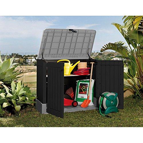 Koll Living Mülltonnenbox/Aufbewahrungsbox mit 250 L Fassungsvermögen - 130 x 74 x 110 cm - Gartengeräte regensicher verstauen oder Mülltonnen unauffällig unterbingen - abschließbar