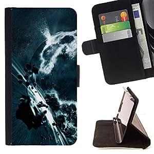 - ART EARTH ASTEROID GREY PLANET APOCALYPSE BELT - - Prima caja de la PU billetera de cuero con ranuras para tarjetas, efectivo desmontable correa para l Funny HouseFOR Samsung Galaxy S6