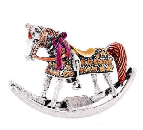 - Rocking Horse Fashion Brooch Pin with Rhinestones (Amber)