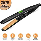 Flat Iron for Hair,【2019 Upgraded】Hair Straightener with Digital Display&Dual Voltage,2in1 Ceramic Ionic Hair Styling Iron,15s Instant Heat,11 Adjustable Temperature Settings,Auto Shut Off,1 inch
