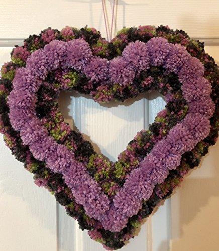 Lilac Purple Green and Grey Heart Yarn Pom Pom Valentine Romance Wreath